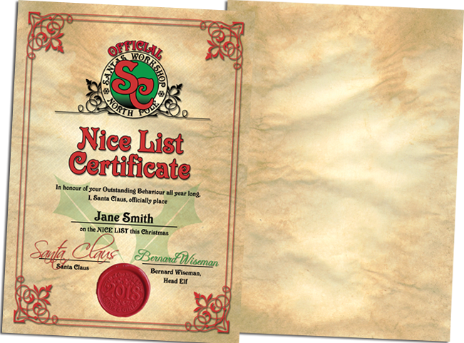 Official Personalised Nice List Certificate